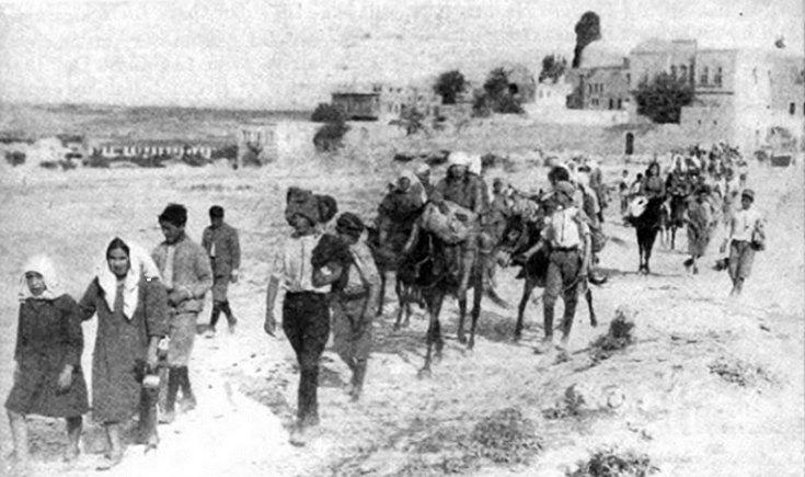 Πορεία επιζησάντων της Γενοκτονίας από το Χαρπούτ της Τουρκίας στο δύσκολο δρόμο προς το Χαλέπι, που βρίσκεται σε απόσταση 800 χιλιομέτρων.